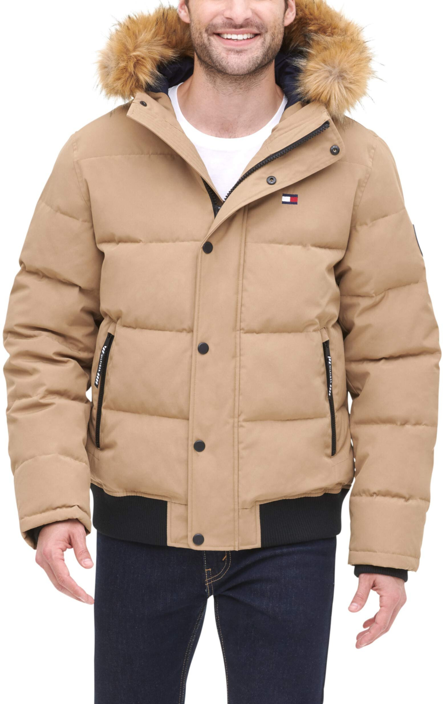 Quilted Arctic Cloth Snap Front Snorkel Bomber Jacket Tommy Hilfiger
