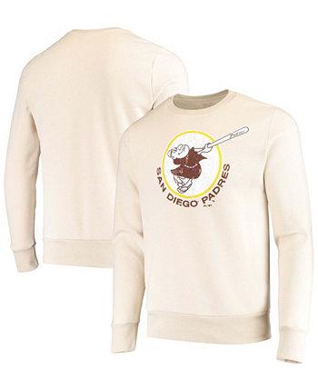 Men's Oatmeal San Diego Padres Fleece Pullover Sweatshirt Majestic