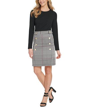 Платье с юбкой в клетку и пуговицами DKNY