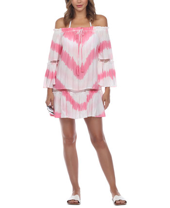 Tie-Dyed Crochet-Lace-Inset Off-The-Shoulder Cover-Up Dress Raviya
