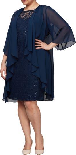 Sequin Lace Kimono Twofer Dress SLNY