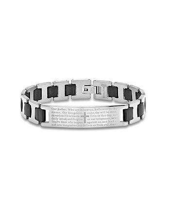 Мужской черный резиновый браслет из нержавеющей стали с браслетом «Lords Prayer» STEELTIME