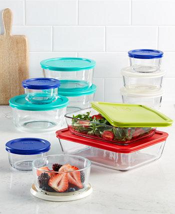 Набор контейнеров для хранения продуктов из 22 предметов, созданный для Macy's Pyrex