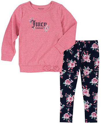 Комплект из 2 предметов, пуловер с завязками на талии и леггинсы для маленьких девочек Juicy Couture