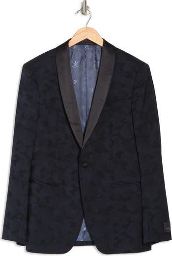 Темно-синее спортивное пальто с камуфляжным принтом Brooklyn и воротником-шалью на одной пуговице John Varvatos