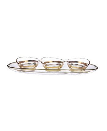 Блюдо в виде чаши на подносе с дизайном в виде кирпича из золота 585 пробы Classic Touch
