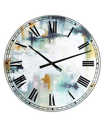"""Большие современные настенные часы с бело-бирюзовой композицией - 36 """"x 28"""" x 1 """" Designart"""