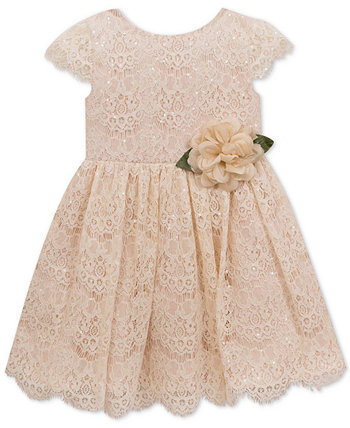 Baby Girls Sequin Lace Fit & Flare Dress Rare Editions