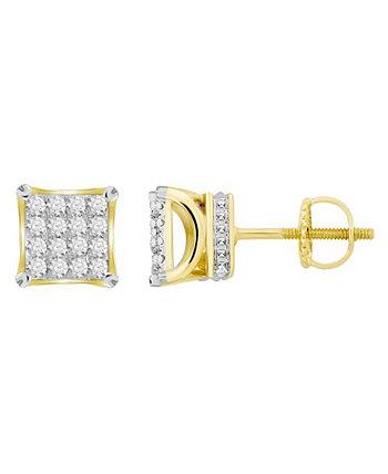 Мужская квадратная серьга с бриллиантом (1 карат) из желтого золота 10 карат Macy's