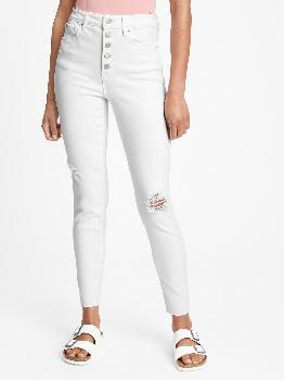 High Rise Destructed Universal Legging Jeans with Button Fly with Washwell™ Gap Factory