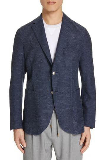 Шерстяное спортивное пальто с отделкой елочкой Eleventy