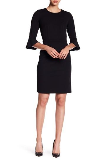 Облегающее платье из крепа с расклешенными рукавами Donna Morgan