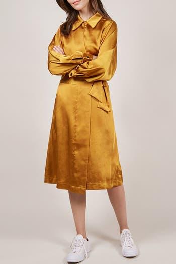 Satin Spread Collar Wrap Dress FRNCH