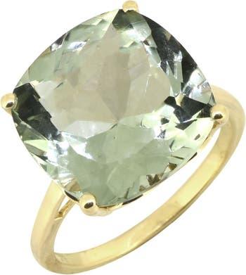 Массивное кольцо из стерлингового серебра с позолотой с зеленым аметистом Nitya