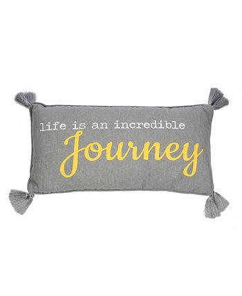 Подушка Home Taryn Gray Journey 12 x 24 дюйма Levtex