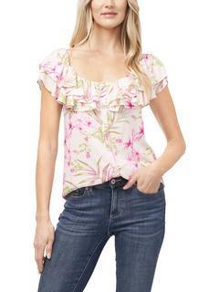 Блуза Serene Flora без рукавов с оборками CeCe