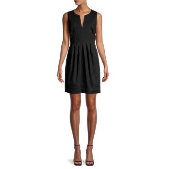Linen-Blend Pleated Dress Halston Heritage