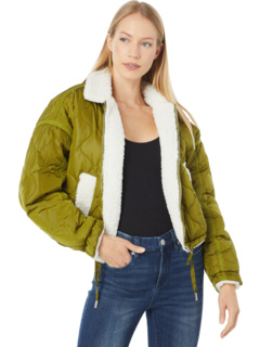 Nylon Cropped Quilted Faux Sherpa Jacket Blank NYC