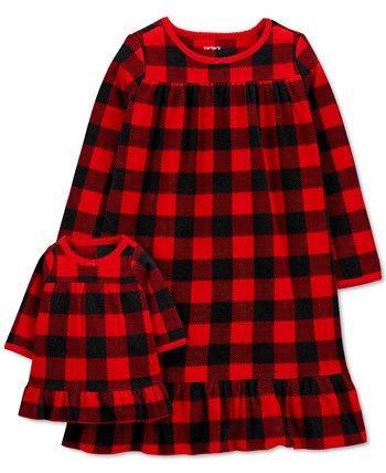 Маленькие и большие девочки 2 шт. Ночная рубашка в тон в клетку Buffalo и комплект ночной рубашки для кукол Carter's