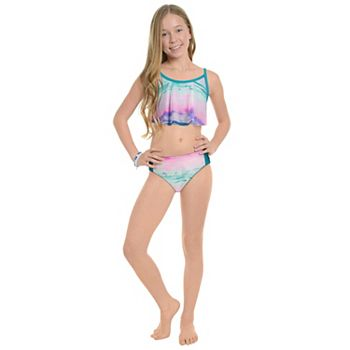 Girls 7-16 Under Armour Wave Stripe Flutter Bikini Top & Bottoms Swimsuit Set Under Armour