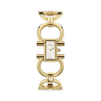 Женские часы с браслетом Double Gancini из желтого золота с IP-браслетом Salvatore Ferragamo