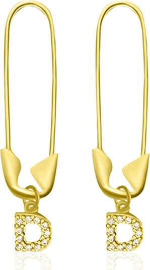 Серьги-подвески с английской булавкой из желтого золота 585 пробы с вермелем и паве - Доступны несколько инициалов ADORNIA