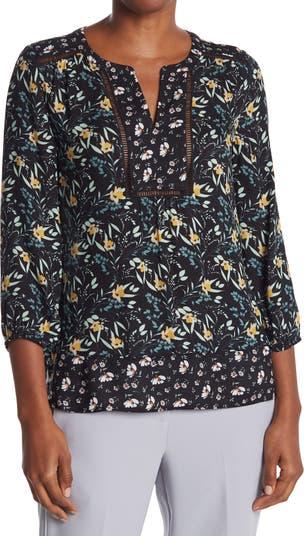 Блуза с цветочным принтом и разрезом на воротнике Daniel Rainn