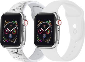 Белый / мраморный силиконовый ремешок для часов 42 мм / 44 мм Apple, серии 1, 2, 3, 4, 5, - 2 шт. В упаковке POSH TECH