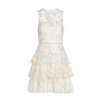 Многослойное коктейльное платье с цветочной вышивкой ML Monique Lhuillier