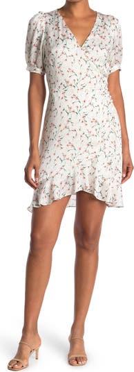 Sabine Floral Puff Sleeve Wrap Dress Lucy Paris