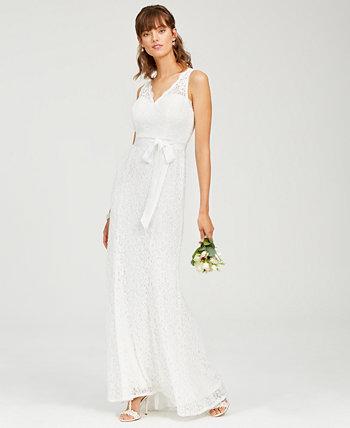 Кружевное платье с V-образным вырезом и поясом Adrianna Papell