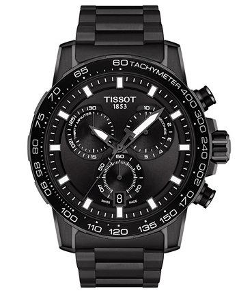 Мужские часы Swiss Chronograph Supersport с черным браслетом из нержавеющей стали 45,5 мм Tissot