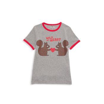 Маленькая девочка & amp; Футболка с рисунком Girl's Wild At Heart Mini rodini