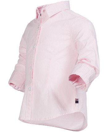 Полосатая хлопковая рубашка для девочек в полоску Tommy Hilfiger