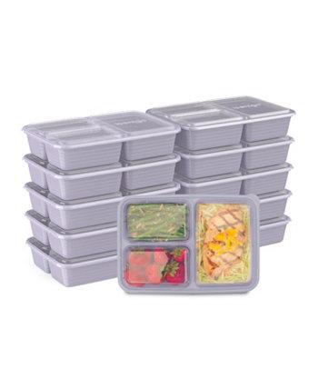 Контейнеры для хранения пищевых продуктов с 3 отделениями для приготовления еды, упаковка из 10 шт. Bentgo