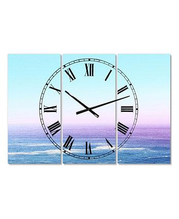 """Большие морские и прибрежные настенные часы с видом на океан, 3 панели - 23 """"x 23"""" x 1 """" Designart"""