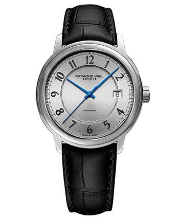Мужские швейцарские автоматические часы Maestro с черным кожаным ремешком, 39 мм Raymond Weil