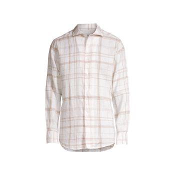 Клетчатая льняная рубашка Canali