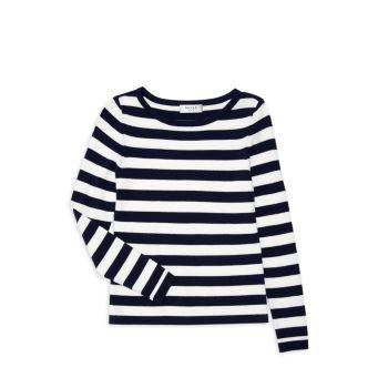 Полосатый пуловер с вырезом лодочкой для девочек Milly Minis