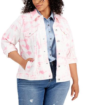 Plus Size Tie-Dye-Print Denim Jacket, Created for Macy's Style & Co