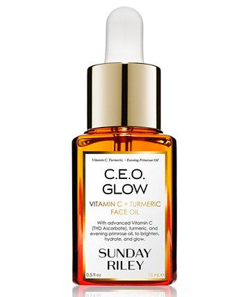 ИСПОЛНИТЕЛЬНЫЙ ДИРЕКТОР. Glow Vitamin C + масло для лица с куркумой, 0,5 унции. Sunday Riley