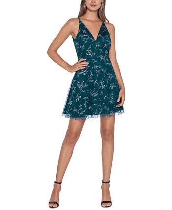 Юниорское облегающее и расклешенное платье с блестками и принтом Blondie Nites
