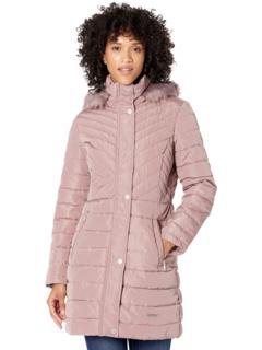 Стеганое пальто с капюшоном Kenneth Cole New York