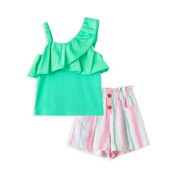 Little Girl's 2-Piece Ruffle Top & Striped Shorts Set