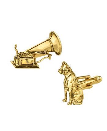 Запонки с собакой и фонографом из 14-каратного золота с ювелирным покрытием 1928 2028