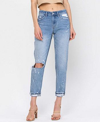 Женский кроп-бойфренд с эффектом потертости с деталями в виде брызг краски и джинсами с одной манжетой FLYING MONKEY