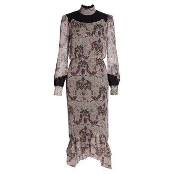 Шелковое миди-платье Isa с зубчатым краем SALONI