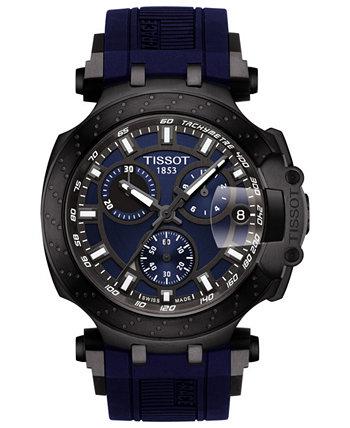 Мужские часы Swiss Chronograph T-Sport T-Race с черным силиконовым ремешком 47,6 мм Tissot