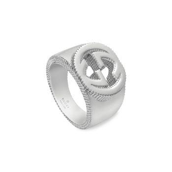 Серебряное кольцо с переплетенными буквами G GUCCI