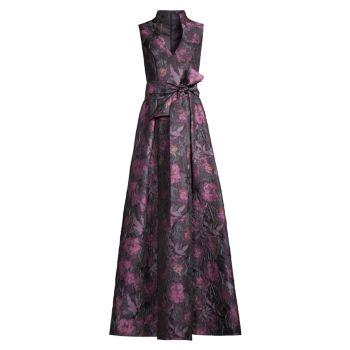 Sleeveless Floral Ball Gown Aidan Mattox